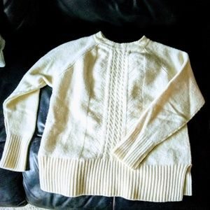 J Crew thick cream cable sweater
